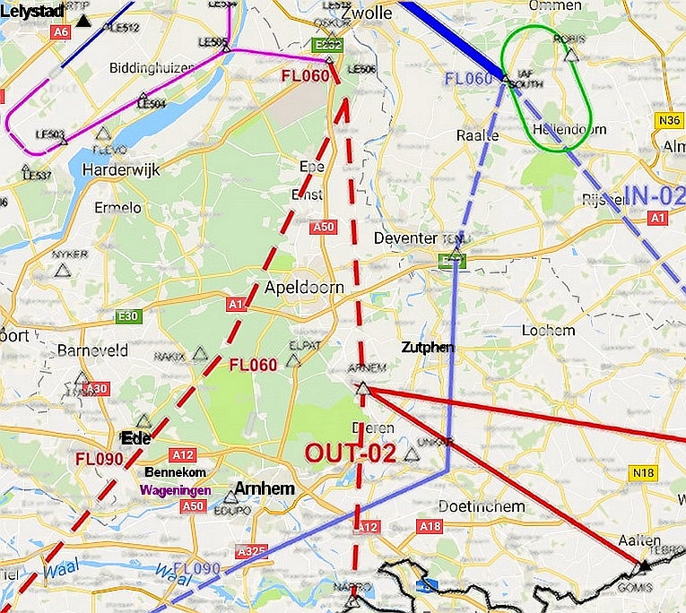 Kaartje met de vliegroute FL 090 over Ede en Bennekom en vlak langs Wageningen.