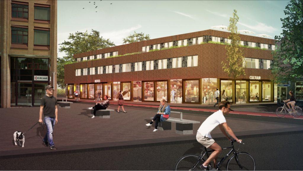Een art impression van het plan van Gerben Kuipers voor het oude postkantoor en het gebouw ernaast. Artimpression door DP6 architectuurstudio