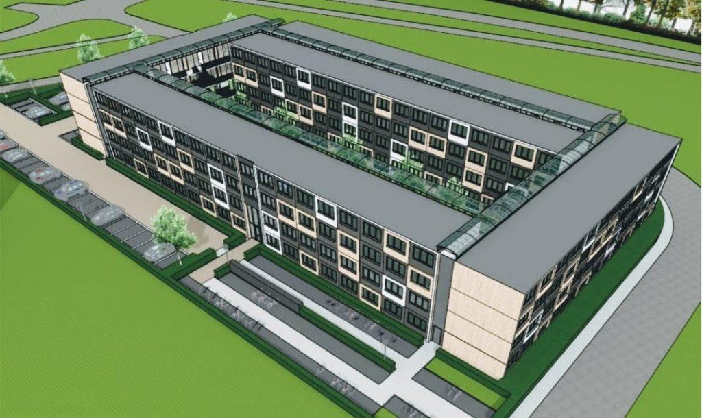 Een impressie van de tijdelijke studentenhuisvesting op Nieuwe Kanaal 1 in Wageningen.-Impressie door Te Kiefte Architecten